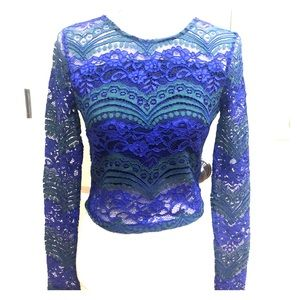 Rome +Juliet Couture Blue and Green Lace Top
